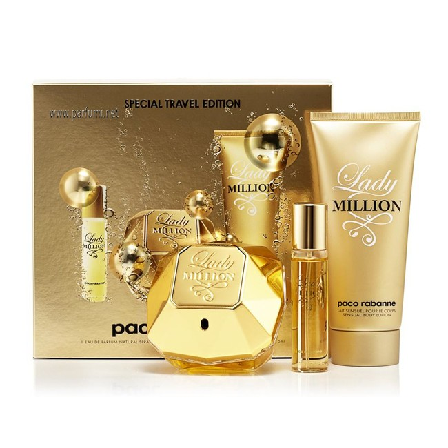 Paco Rabanne Lady Million Комплект за жени-80ml EDP+100BL+10ml